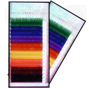 Szálas műszempilla színes mix B/C ívű 0,2/12mm tálca