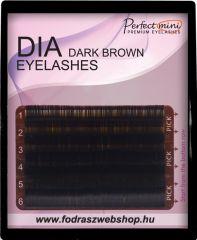 Szálas műszempilla mix B/C ívű sötét barna 0,25 vastag mini tálca