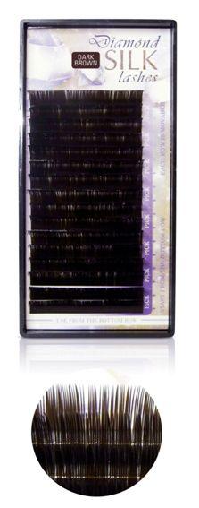 Diamond szálas műszempilla J ívű 0,25 14mm sötét barna(tálcás)
