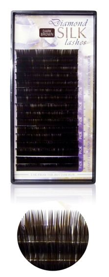 Diamond szálas műszempilla J ívű 0,15 14mm sötét barna(tálcás)