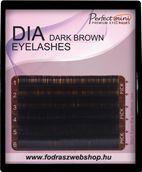 Szálas műszempilla B/C ívű sötét barna 0,25 12mm mini tálca