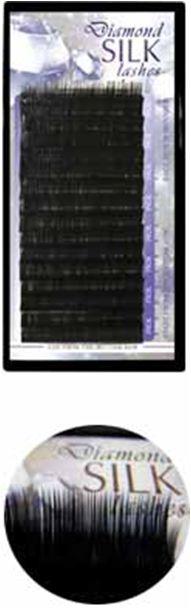 Diamond szálas műszempilla B/C ívű fekete 0,05 mix (tálcás)